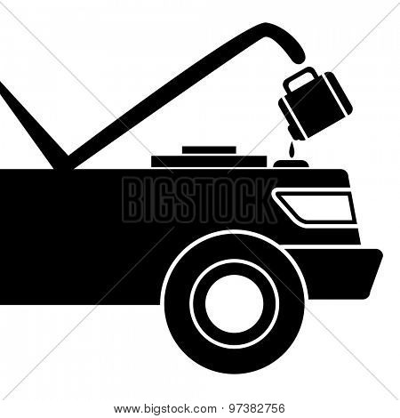 An image of a car being given fluid for maintenance.