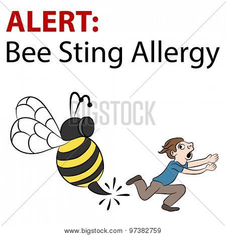 An image of a cartoon bee stinging a running man.