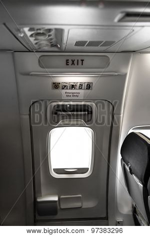 Emergency exit in aircraft ( Filtered image processed vintage effect. )