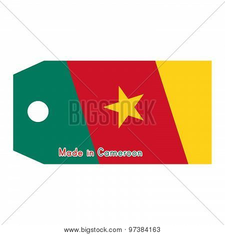 Vector Illustration Of Cameroon Flag On Price Tag With Word Made In Cameroon Isolated On White Backg