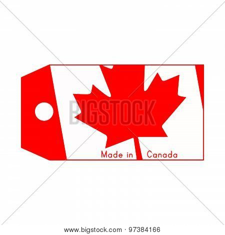 Vector Illustration Of Canada Flag On Price Tag With Word Made In Canada Isolated On White Backgroun