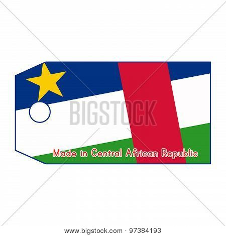 Vector Illustration Of Central African Republic Flag On Price Tag With Word Made In Central African