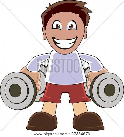Cartoon illustration of a young man training with dumbell