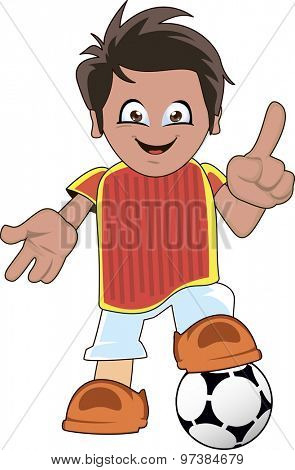Soccer or football player cartoon standing with one leg on the ball and smiling