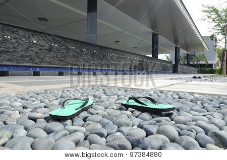 Slippers in front of ablution of Puncak Alam Mosque at Selangor, Malaysia