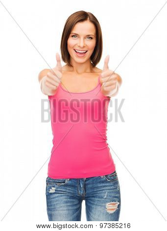 happy people concept - woman in blank pink tank top shirt showing thumbs up