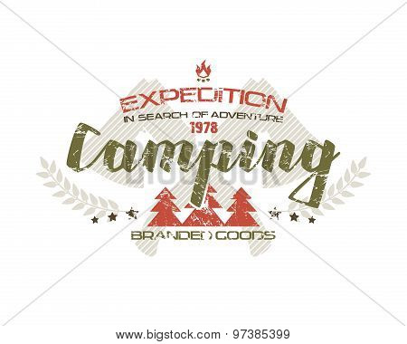 Camping Emblem With Shabby Texture