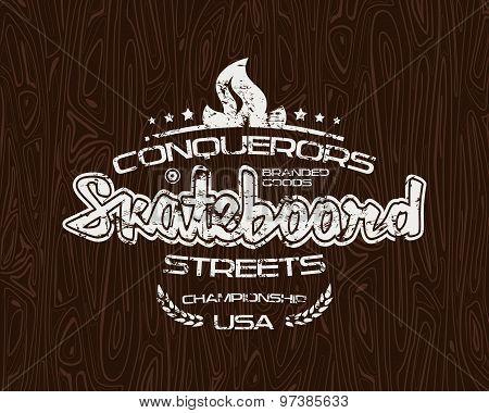 Skateboard Emblem  For T-shirt
