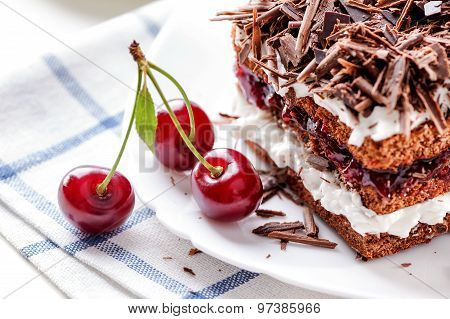 Black Forest cake piece with cherries berries