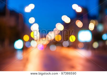 Night lights of the modern city. Street view, urban background