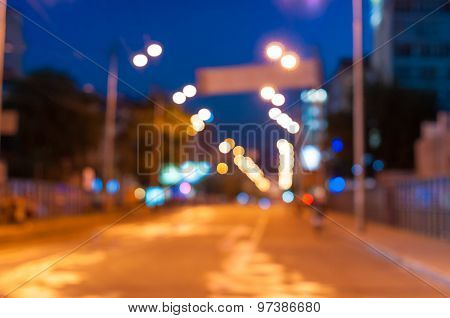 Beautiful blurred city background on dark