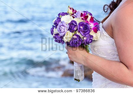 The Bride Holding Wedding Bouquet At Tropical Beach.