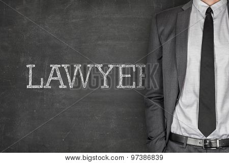 Lawyer on blackboard