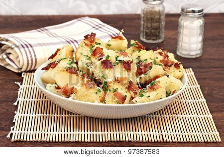 Roasted Potatoes With Bacon, Parmesan And Garlic.
