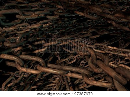Bunch Of Rusted Chains In Moody Lighting Create Grunge Texture And Background.