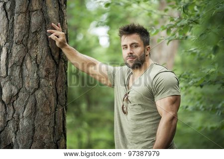 An image of a bearded man in the woods