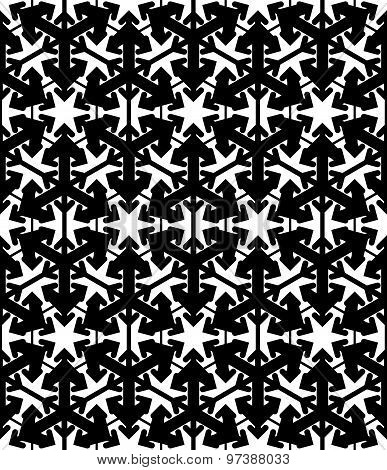 Contrast geometric seamless pattern with symmetric ornament. Hexagon graphic contemporary background