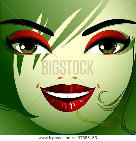 Attractive woman with stylish bright make-up and contemporary hairstyle. Sexy Caucasian lady.