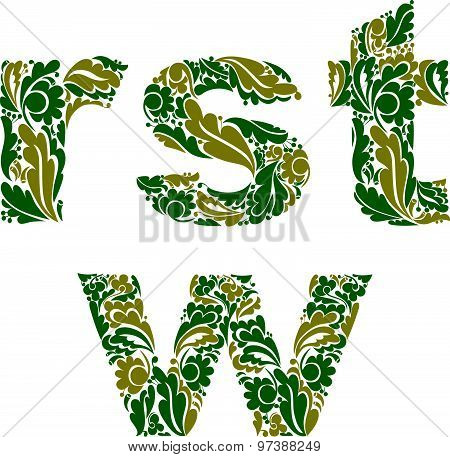 Beautiful floral font, decorative letters with vintage pattern. R, s, t, w.