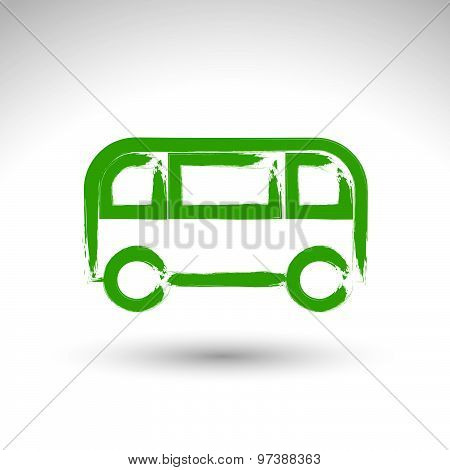 Hand drawn green bus icon, illustrated brush drawing passenger bus sign, hand-painted automobile