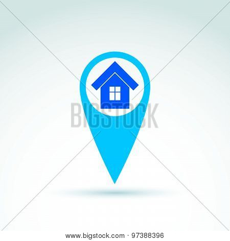 Vector map pointer with house icon. Place location symbol, home sign.