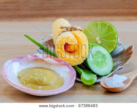 Natural Spa Ingredients . - Homemade Facial Masks With Natural Ingredients On Wooden Table.