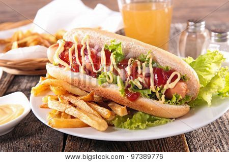 hot dog with french fries and beer