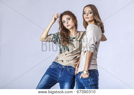 Fashion Two Models Beautiful Women Studio Photography