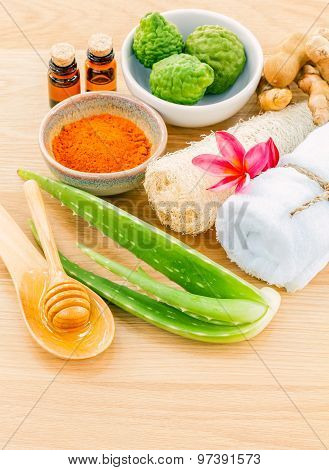 Traditional Of Thai Skin Care Ingredients. - Macro Shot With Copy Space.