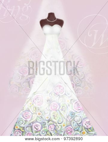 Card With Wedding Dress On A Mannequin And Veil. Floral Pattern