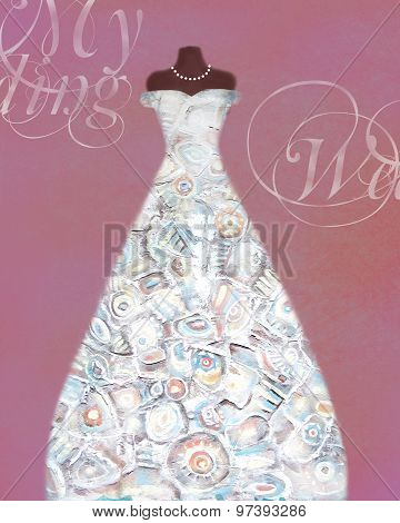 Card With A Mannequin And Wedding Dress With Creative Pattern.