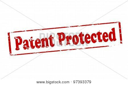 Rubber stamp with text patent protected inside vector illustration