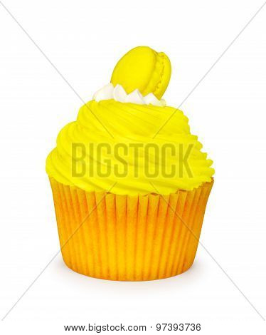 Yellow Cupcake With Macaroon Isolated On White Background