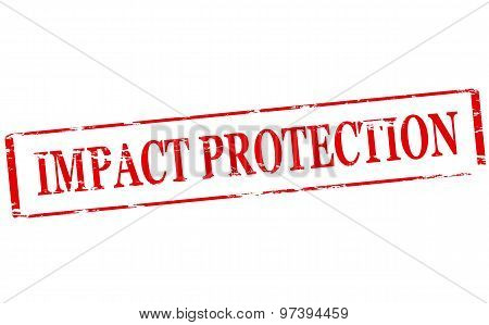 Rubber stamp with text impact protection inside vector illustration