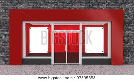 Empty Red Store Front With Big Windows With Border