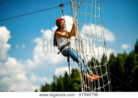 Riding on a zip line