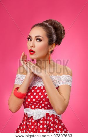 Happy woman  shouting, isolated on white background. Pin-up retro style