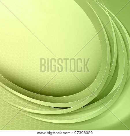 Abstract green background with circle light and shadow lines