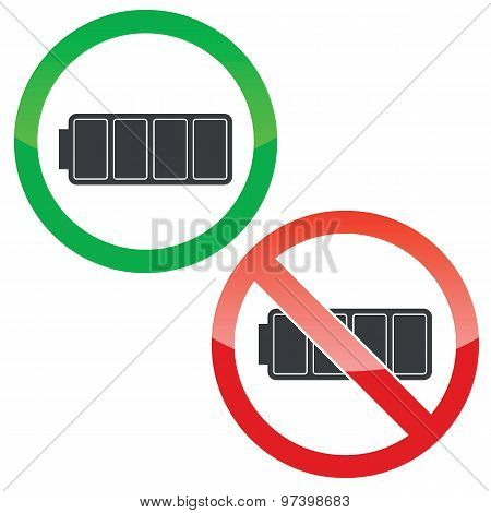 Full battery permission signs set