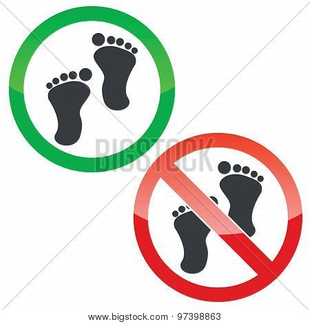 Footprint permission signs set