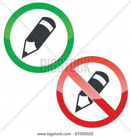 Pencil permission signs set
