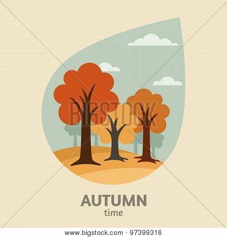Vector Autumn Landscape Background. Yellow Trees Park In Leaf Shape Or Rain Drop Shape