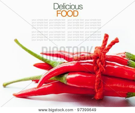 High Key Studio Macro Off Red Chilli On White Background  Copy Space.