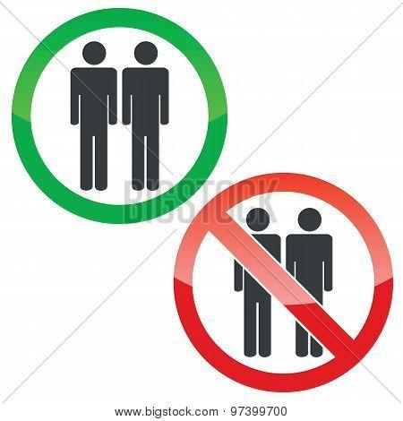 Two men permission signs set