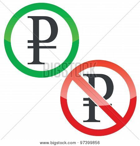 Ruble permission signs set