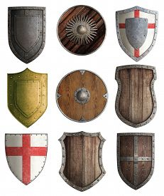 stock photo of shield  - medieval knight shields set isolated - JPG