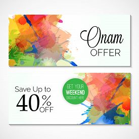 stock photo of onam festival  - illustration of a colorful Banner for Happy Onam - JPG