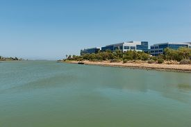 picture of inlet  - Office buildings along an inlet Oyster Point South San Francisco California - JPG