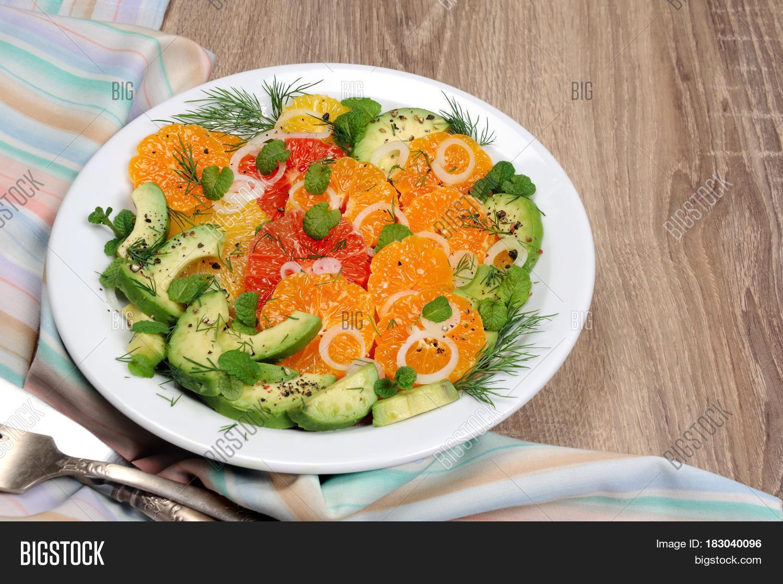 Salad Citrus Fennel Avocado Image & Photo   Bigstock