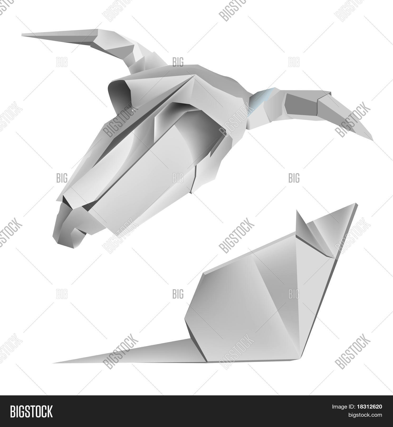 origami cow skull and mouse stock vector amp stock photos